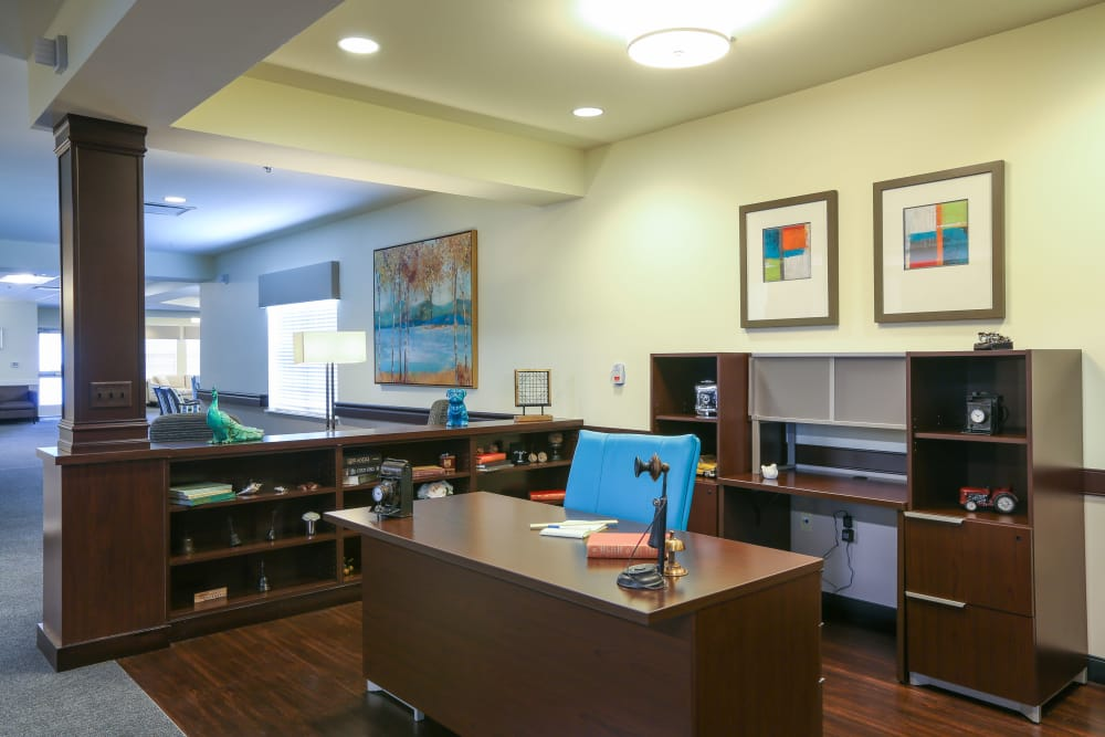 A themed desk setting at Orchard Grove Health Campus in Romeo, Michigan