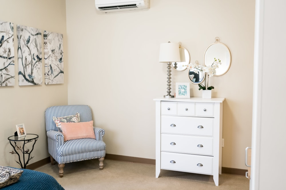 Senior living community with a living space