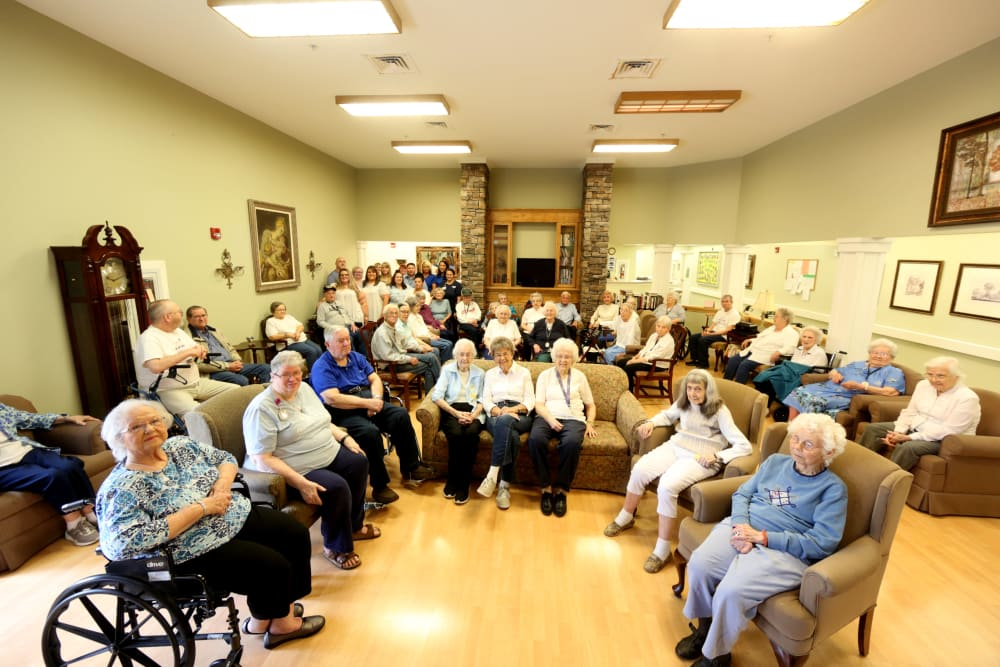 Residents in a community room at Providence Assisted Living in Searcy, Arkansas.