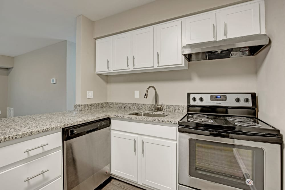 Bright, recently renovated kitchen at Ridgeview at Wakefield Valley in Westminster, Maryland