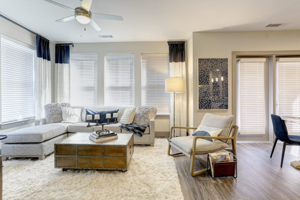 Model living room at The Sawyer at One Bellevue Place in Nashville, Tennessee