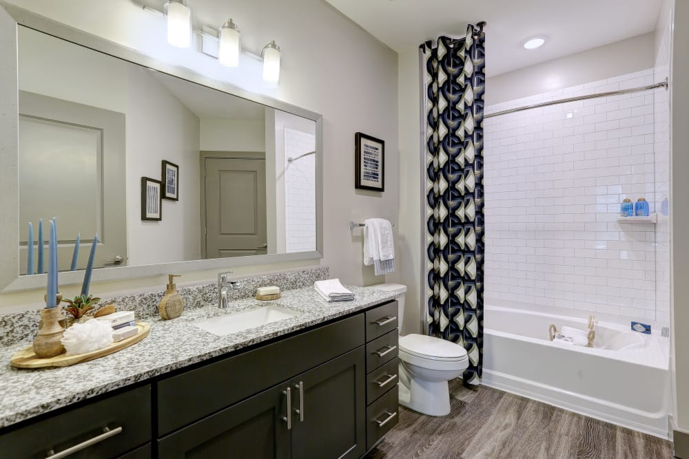 Model luxury bathroom at The Sawyer at One Bellevue Place in Nashville, Tennessee