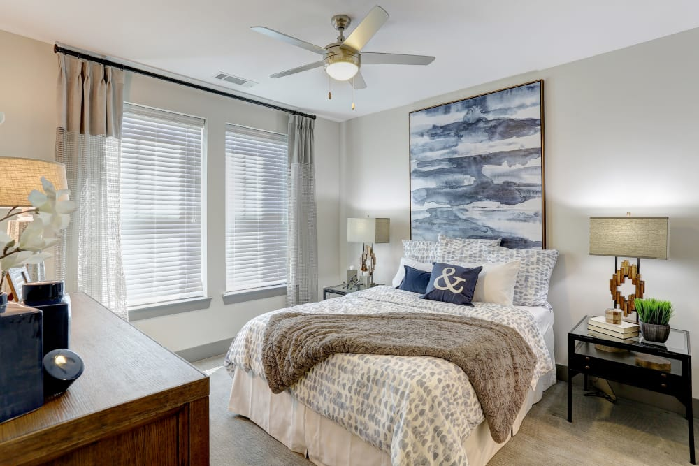 Bright model bedroom at The Sawyer at One Bellevue Place in Nashville, Tennessee