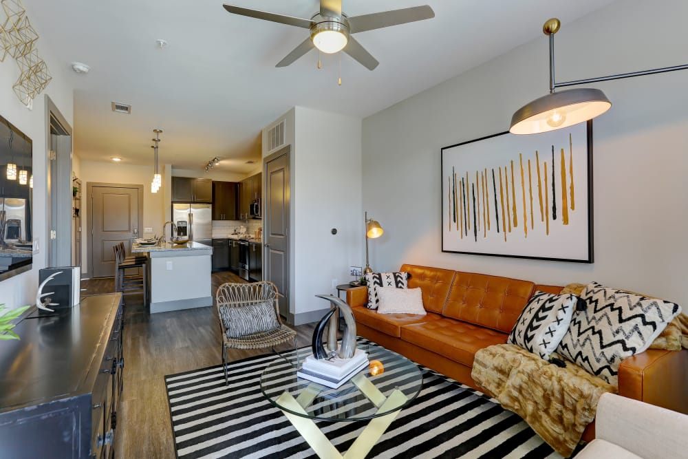 Beautiful living room at The Sawyer at One Bellevue Place in Nashville, Tennessee