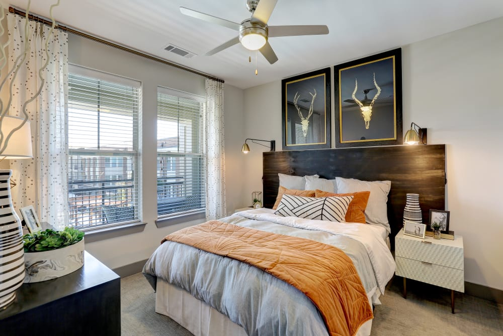 Beautiful luxury bedroom at The Sawyer at One Bellevue Place in Nashville, Tennessee