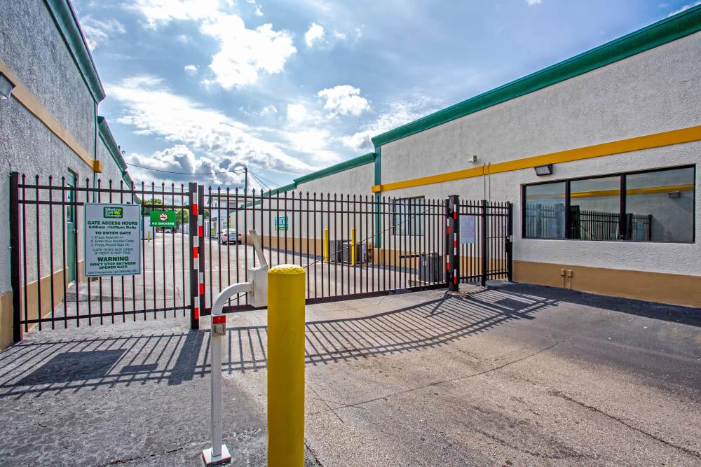 Access gate with security panel at Metro Self Storage in Largo, Florida