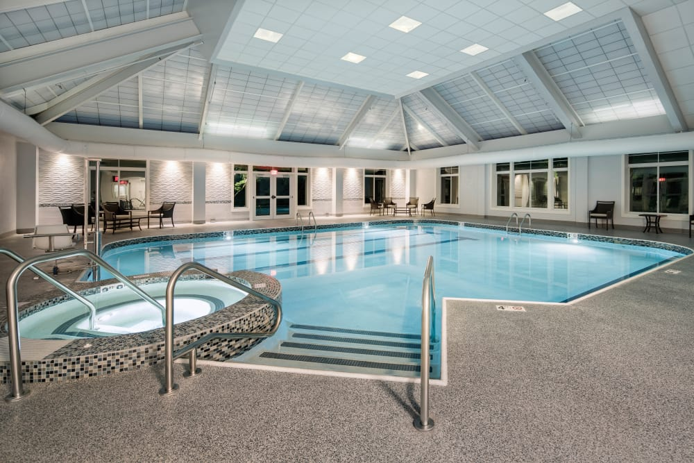 Spa and swimming pool at Maplewood at Mayflower Place in West Yarmouth, Massachusetts