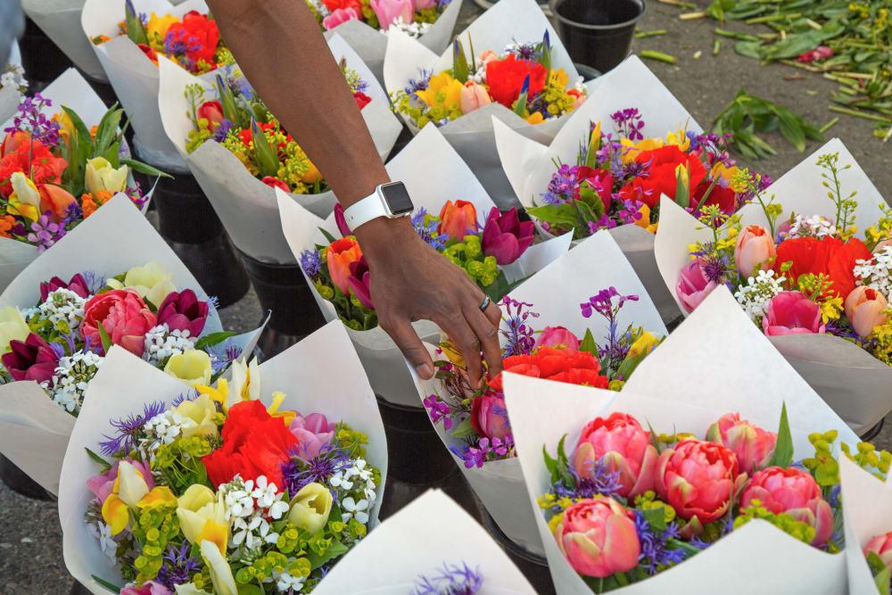 Flowers at a market near Merrill Gardens at Burien in Burien, Washington