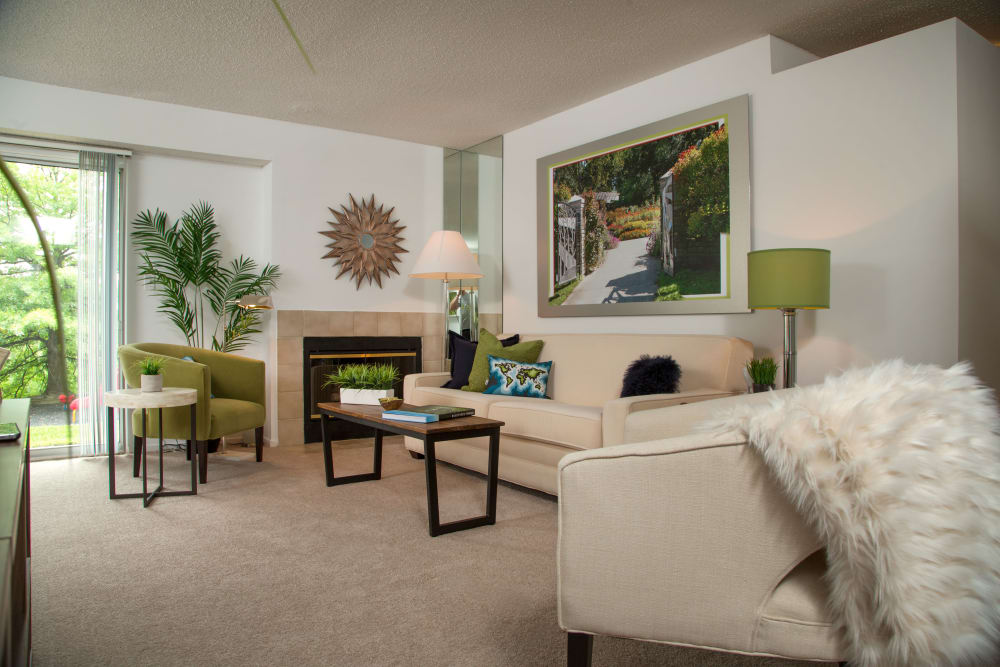 Unique living room at Briar Cove Terrace Apartments in Ann Arbor, Michigan