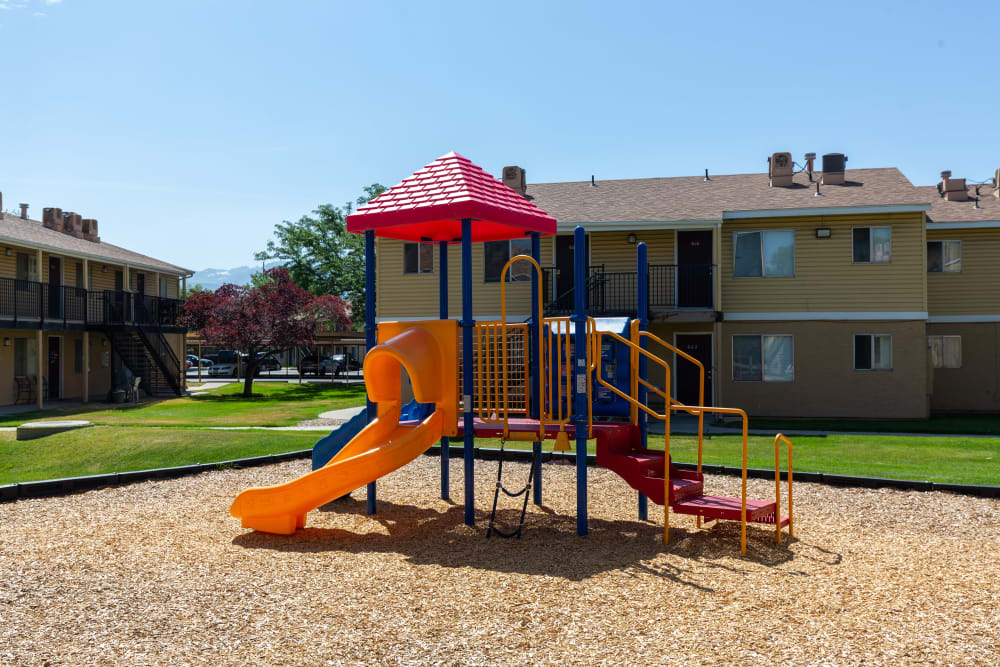 The playground on a sunny day at Callaway Apartments in Taylorsville, Utah