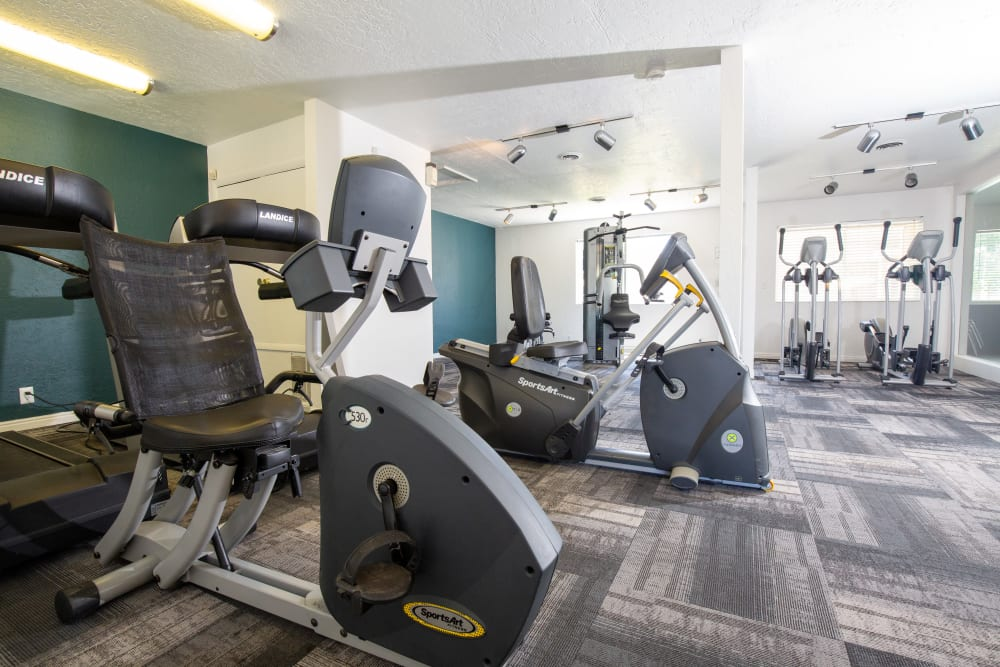 Clean, modern community gym at Callaway Apartments in Taylorsville, Utah