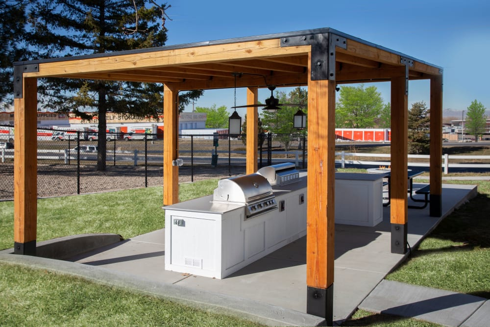 Covered grilling area at Windgate Apartments in Bountiful, Utah