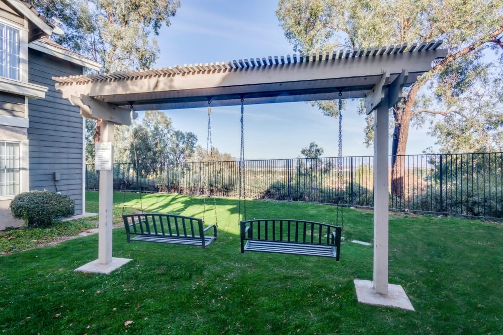 Exterior Swing with a View at Village Oaks in Chino Hills, California