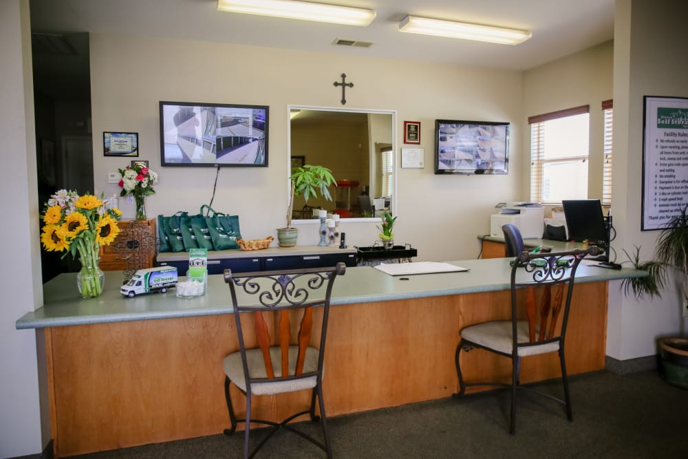 Interior of the leasing office at Stor It Self Storage in Porterville, California