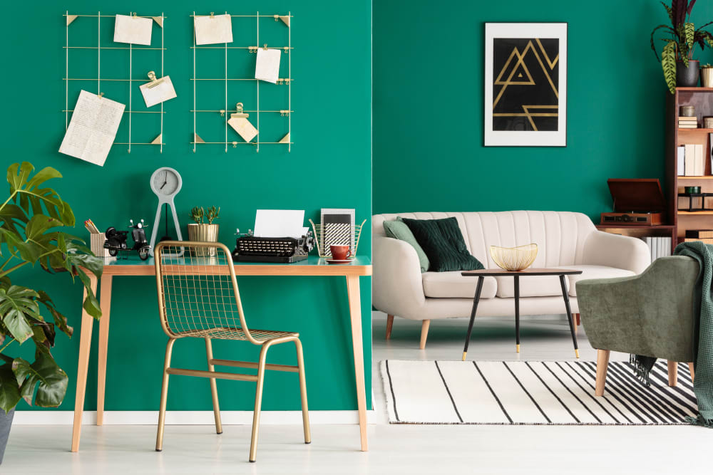 Modern living room design at Yard 8 in Midtown Miami, Florida