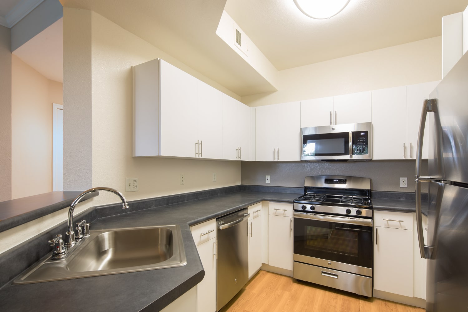 Well appointed kitchen at Park Hacienda Apartments in Pleasanton, California