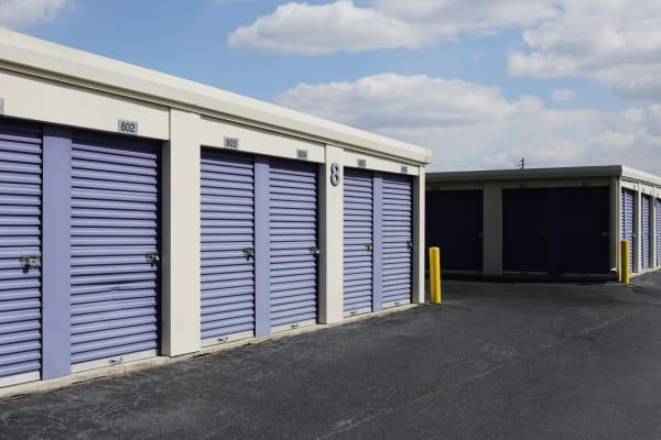 Exterior units with blue doors at StoreSmart Self-Storage in Fayetteville, North Carolina