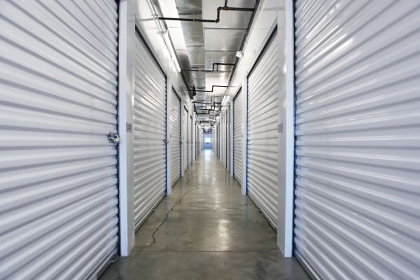 Storage units with purple doors at Midgard Self Storage in Oakland, Tennessee