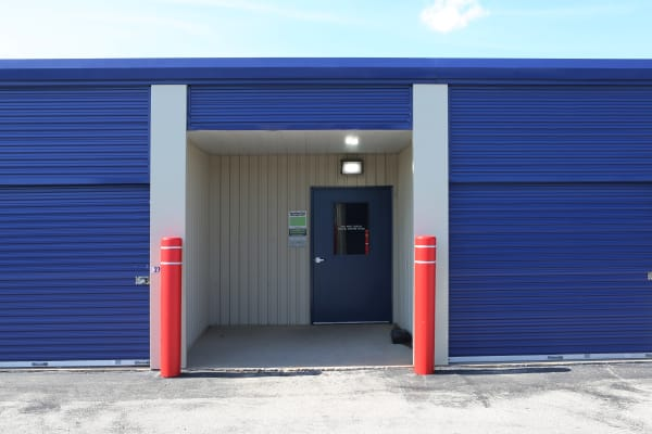 Storage units with purple doors at Midgard Self Storage in Jackson, Tennessee