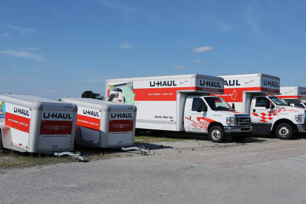 U-Haul trucks at Midgard Self Storage in Jackson, Tennessee