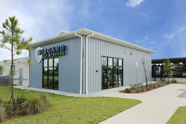 Storage units with purple doors at Midgard Self Storage in Melbourne, Florida