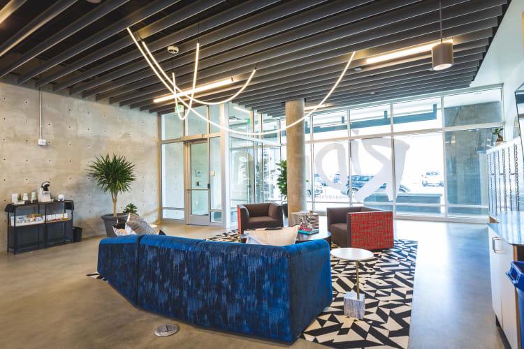 Spacious modern lobby at RiDE at RiNo in Denver, Colorado