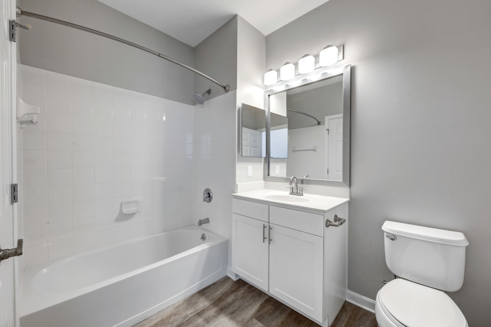 Modern bathroom at apartments in Canton, Massachusetts