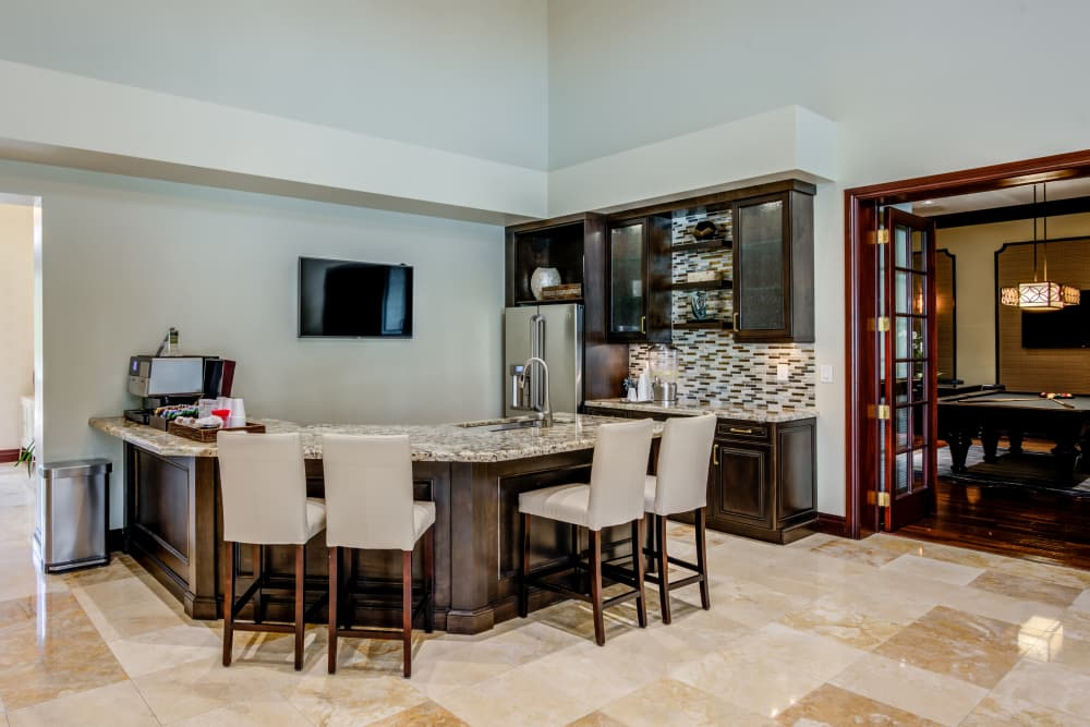Clubhouse kitchen at apartments in Palm Beach Gardens, Florida