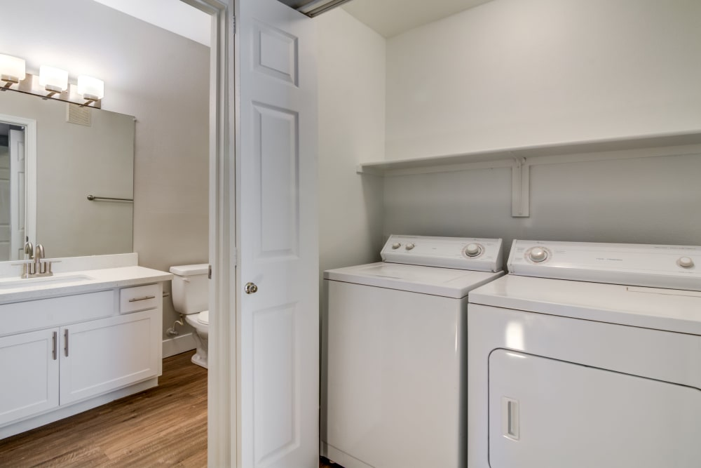 Bathroom and laundry room at apartments in Chandler, Arizona