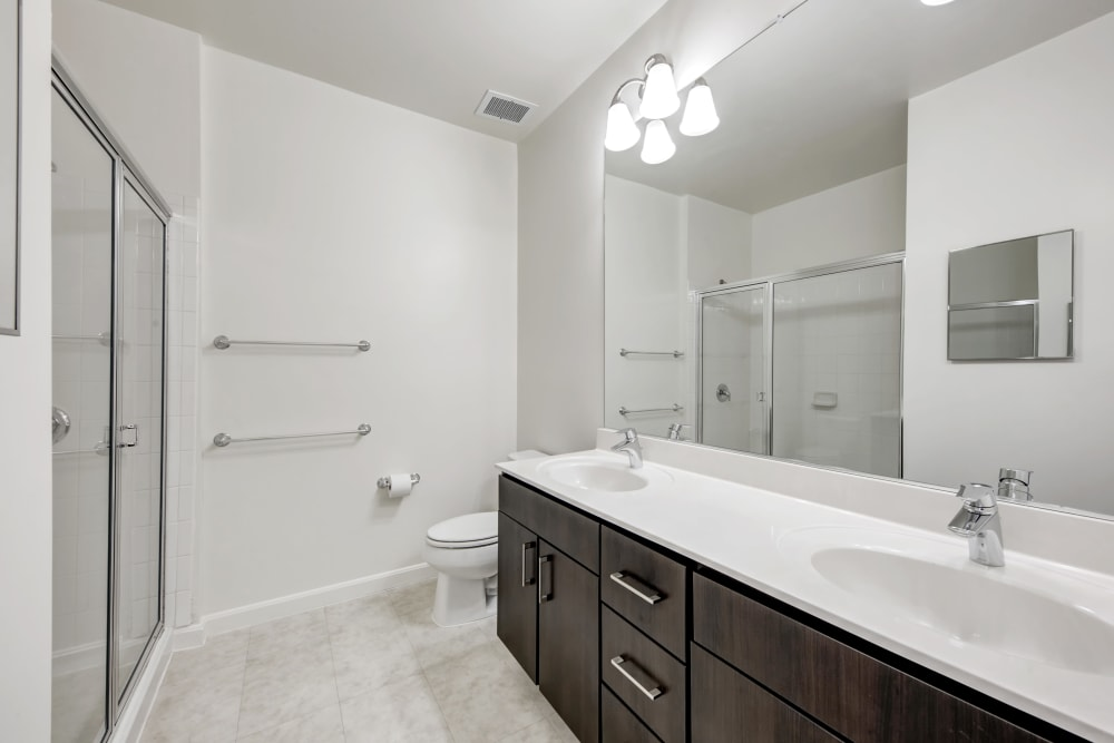 Large bathroom at apartments in Canton, Massachusetts