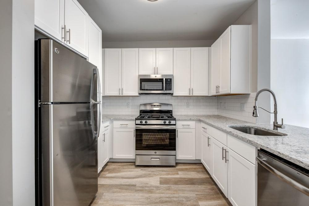 Modern kitchen at apartments in Canton, Massachusetts
