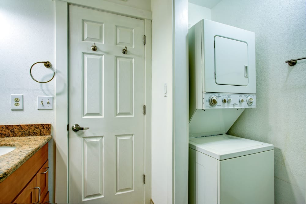 Convenient in-unit washers and dryers at Natomas Park Apartments in Sacramento, California