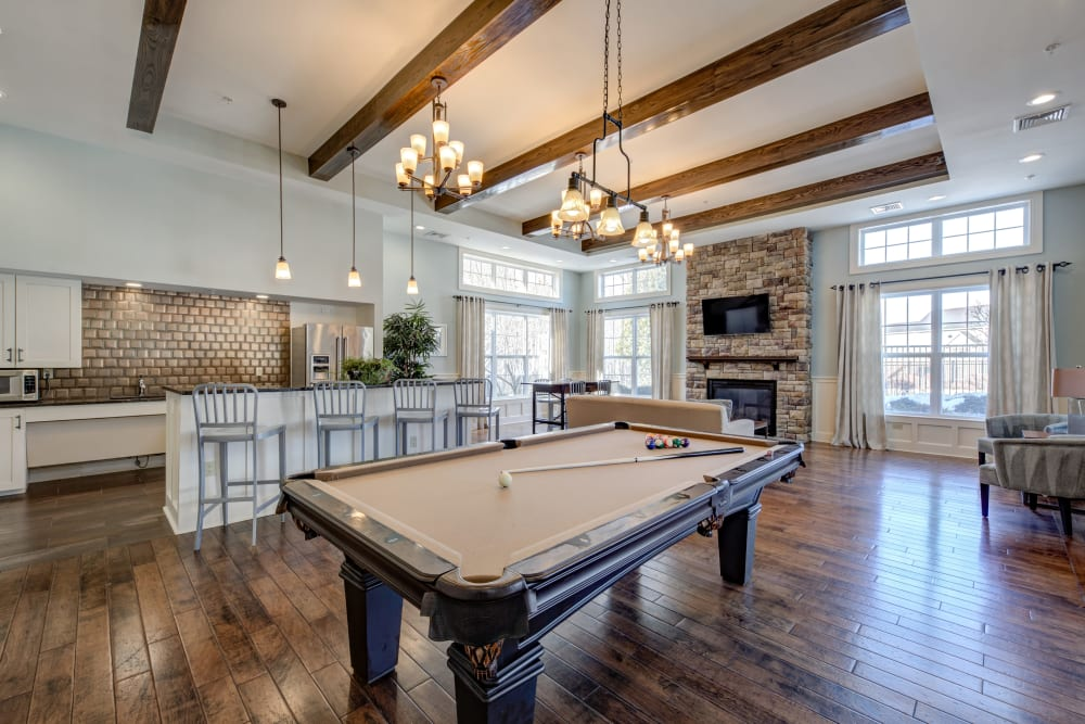 Pool table in clubhouse in Canton, Massachusetts