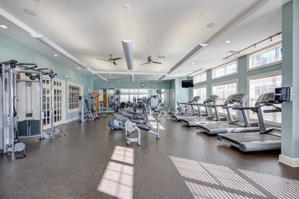 Fitness center at apartments in Canton, Massachusetts