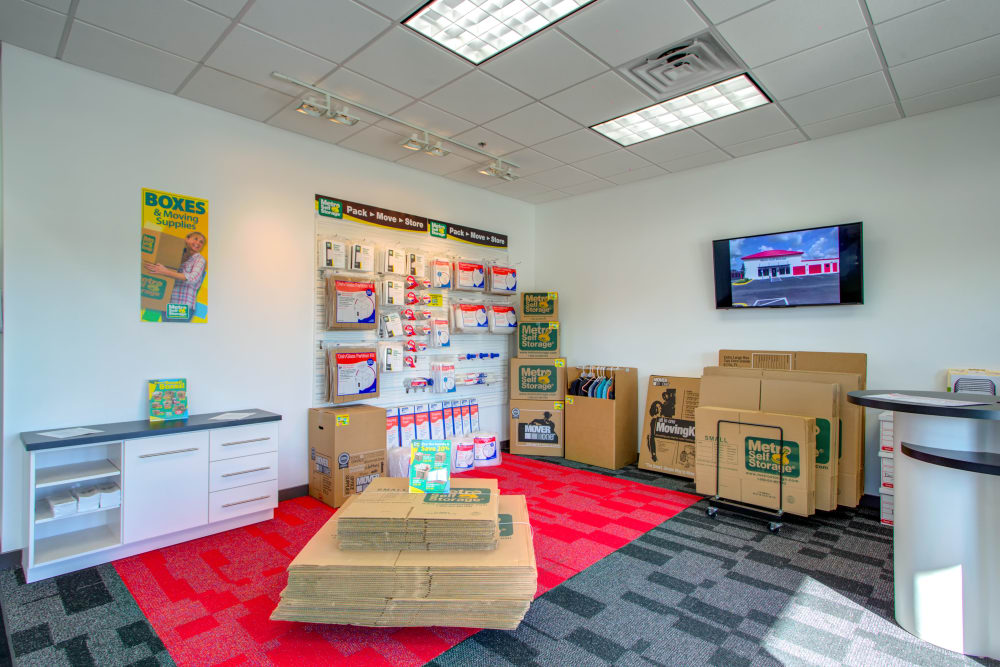 Leasing office offering storage supplies such as boxes and tape at Metro Self Storage in Riverview