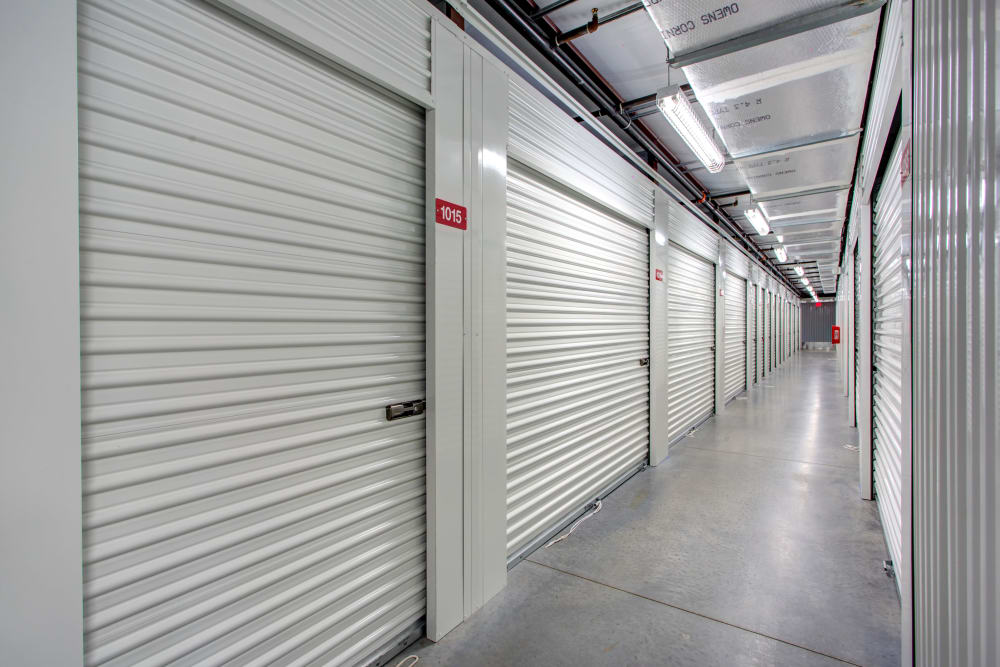 Indoor hallway access to storage units at Metro Self Storage in Riverview