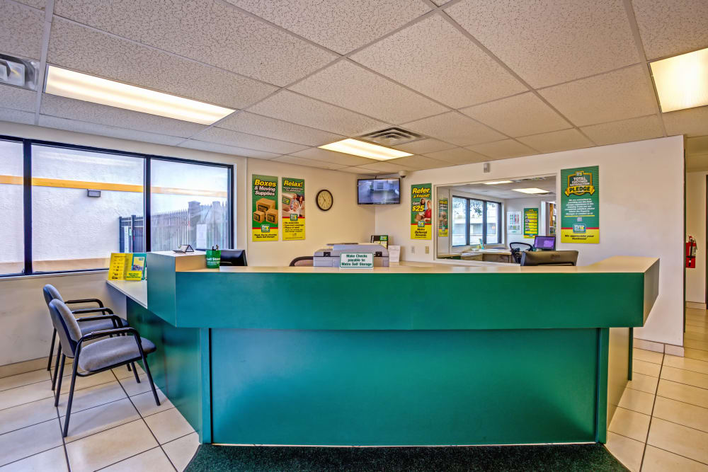 Leasing office reception at Metro Self Storage in Largo, Florida