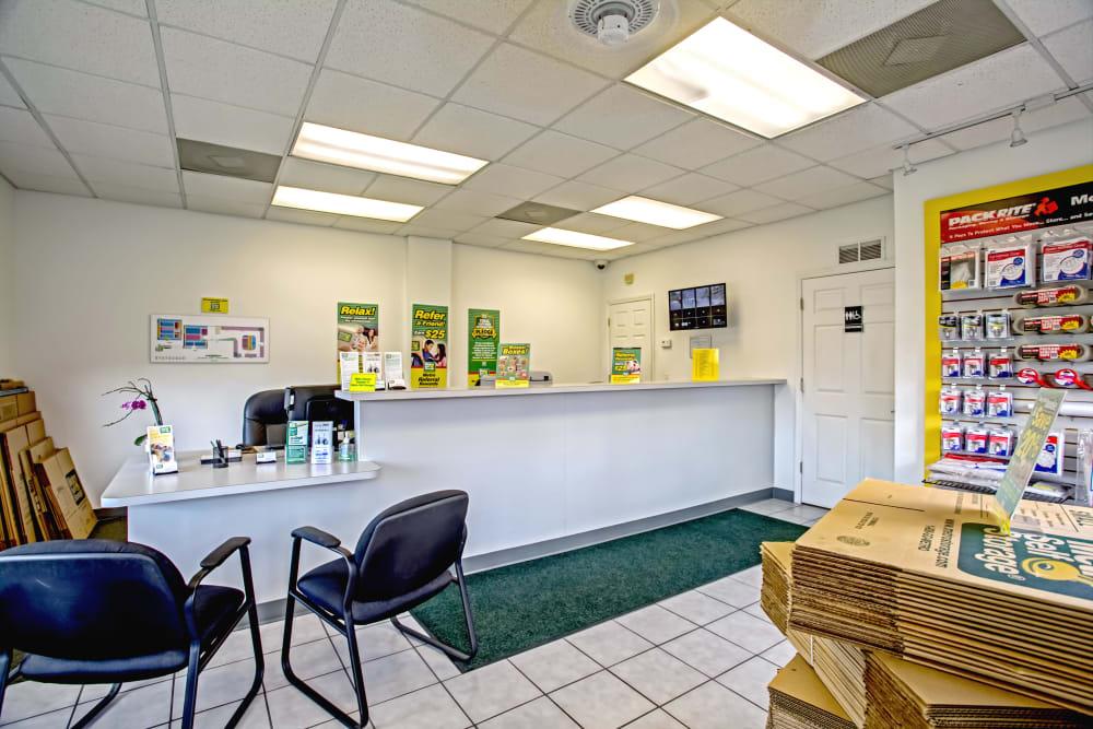 Leasing office reception at Metro Self Storage in Tampa, Florida