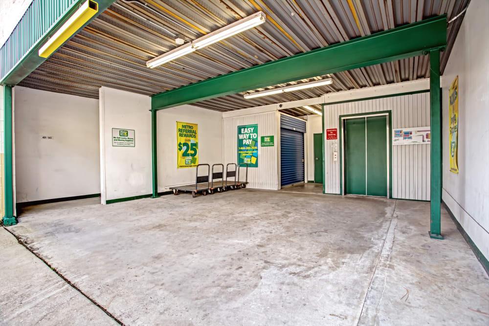 Loading dock interior view at Metro Self Storage in Tampa, Florida