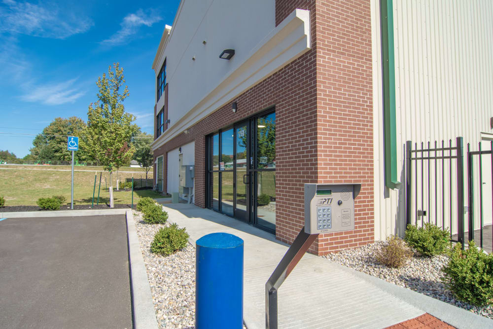 Building exterior at storage units in Noblesville, Indiana