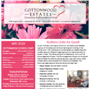 May Cottonwood Estates Gracious Retirement Living newsletter