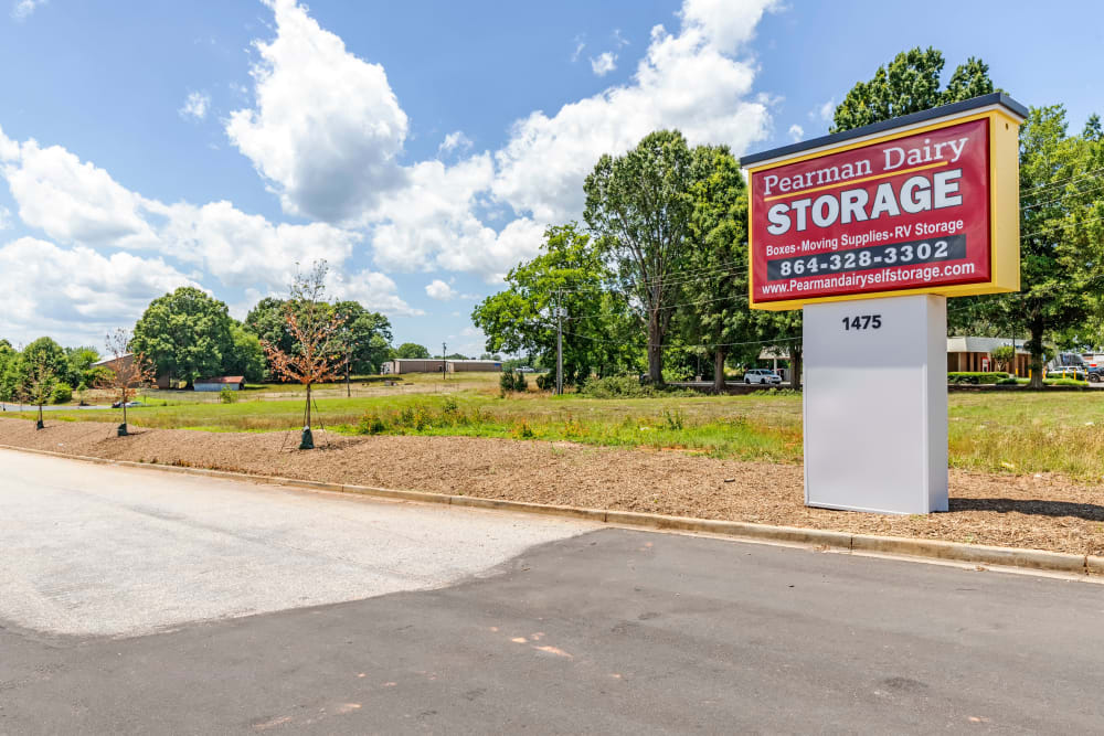 Signage at Pearman Dairy Self Storage in Anderson, SC