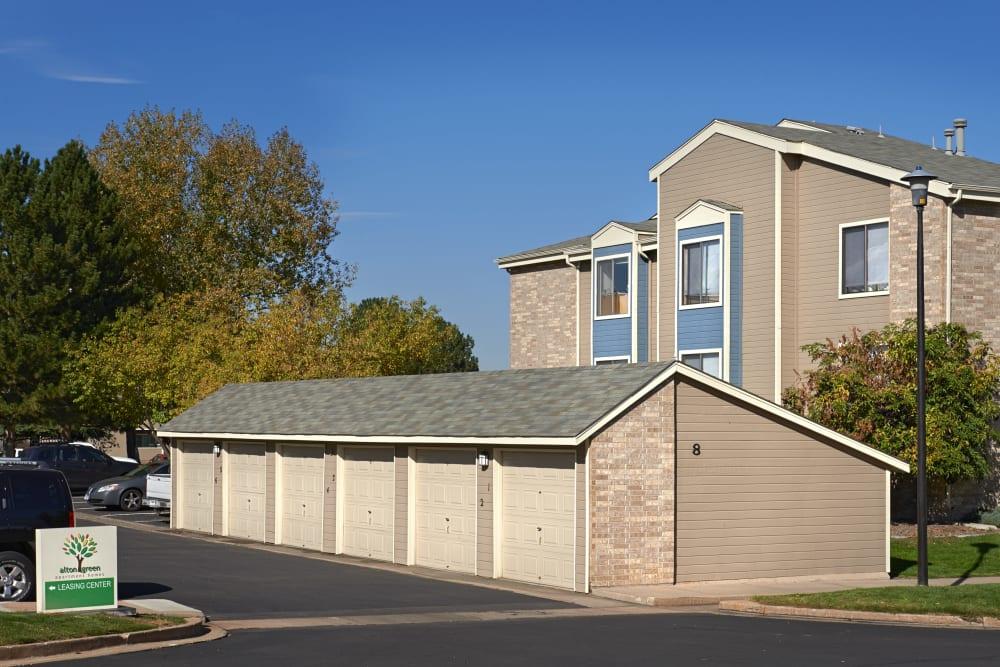Garages at Alton Green Apartments in Denver, Colorado