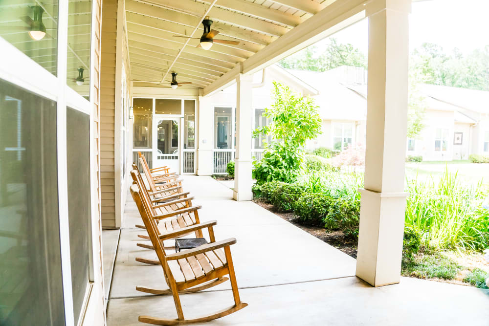 Senior living with a patio at Avenir Memory Care at Little Rock