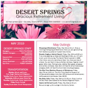 May Desert Springs Gracious Retirement Living newsletter