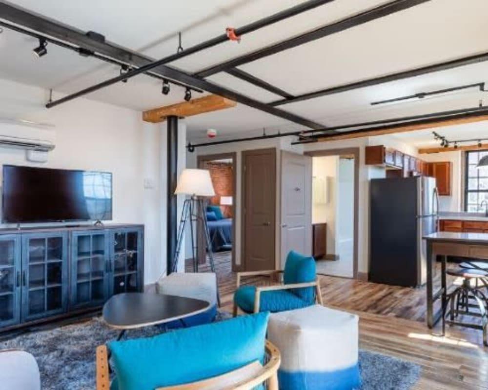 Open concept floor plan at Lofts at Cargill Falls Mill in Putnam, Connecticut