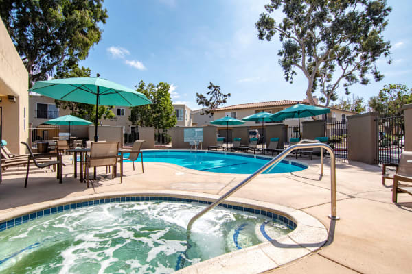 A swimming pool that is great for entertaining at Villas at Carlsbad in Carlsbad, CA