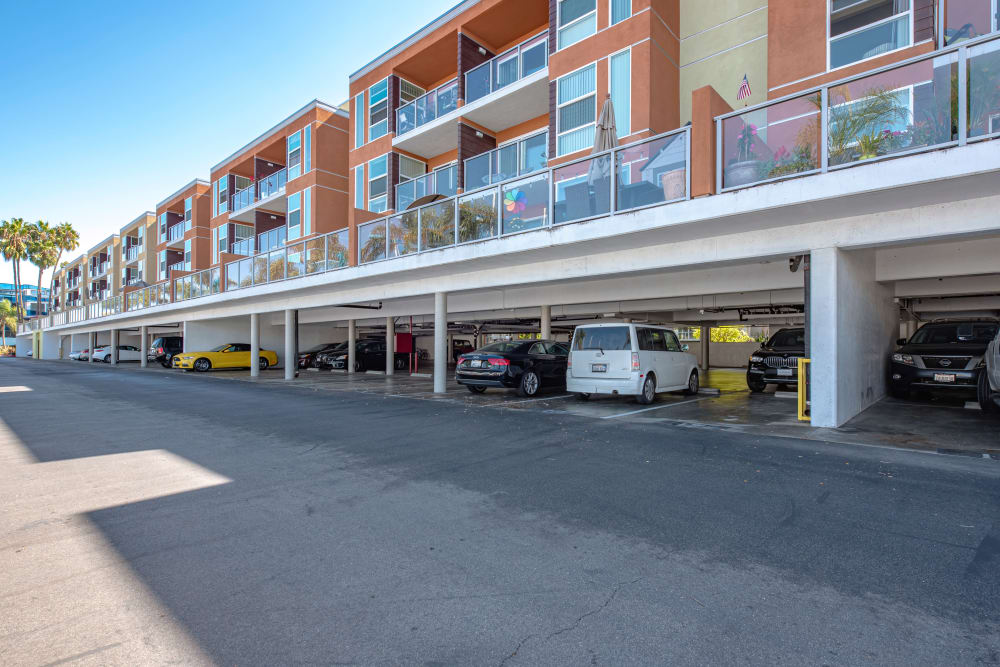 Balcony over covered parking at Harborside Marina Bay Apartments in Marina del Rey, California