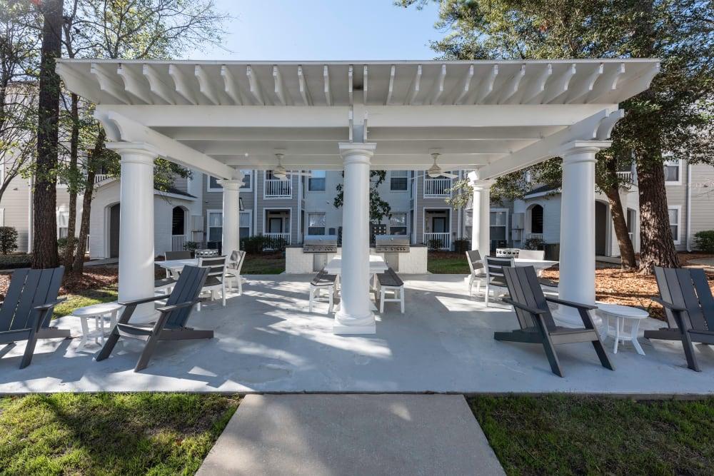 Outdoor gazebo seating at Ingleside Apartments in North Charleston, South Carolina