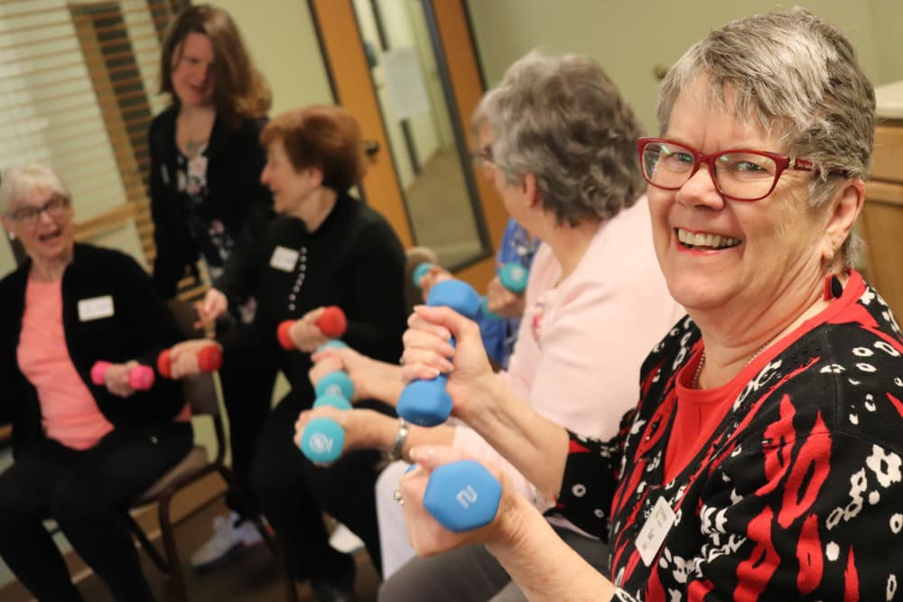 Residents partaking in fitness class at The Springs at Missoula in Missoula, Montana.